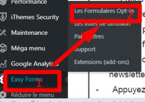 création formulaire d'inscription, Easy forms for mailchimp