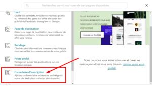 créer formulaire d'inscription sur le site mailchimp étape 2