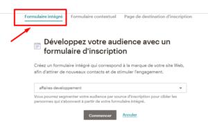 créer formulaire d'inscription sur le site mailchimp étape 3