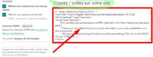 créer formulaire d'inscription sur le site mailchimp étape 5